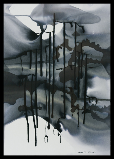 Freshet #11, 2010, ink on paper, 20.75 x 14.75
