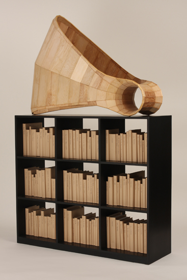 Cris Bruch, Rejoinder, 2008-2010, birch plywood, books, 79 x 52 x 21�